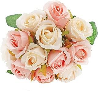 LSME 12 Heads Silk Artificial Rose Flowers Hand Tied Bouquet DIY Wedding Bridal Bouquet (Champagne)
