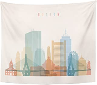 Emvency Tapestry Bridge Boston Massachusetts City Skyline Silhouette Building Flat Cityscape Home Decor Wall Hanging for Living Room Bedroom Dorm 50x60 inches
