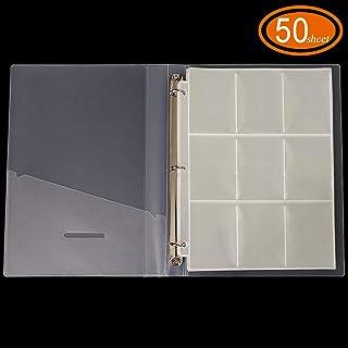 ALIGADO 9-Pocket Trading Card Page, 50 Sheets, with 3-Ring Binder