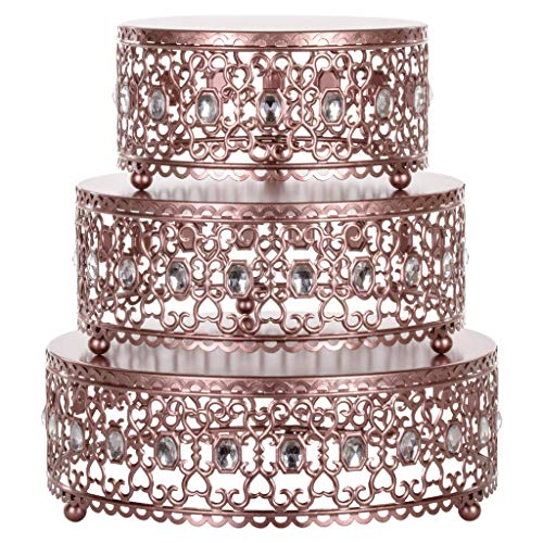 Amalfi Decor Cake Stand Plateau Riser, Round Metal Pedestal Holder with Crystal Gems, Rose Gold, Set of 3