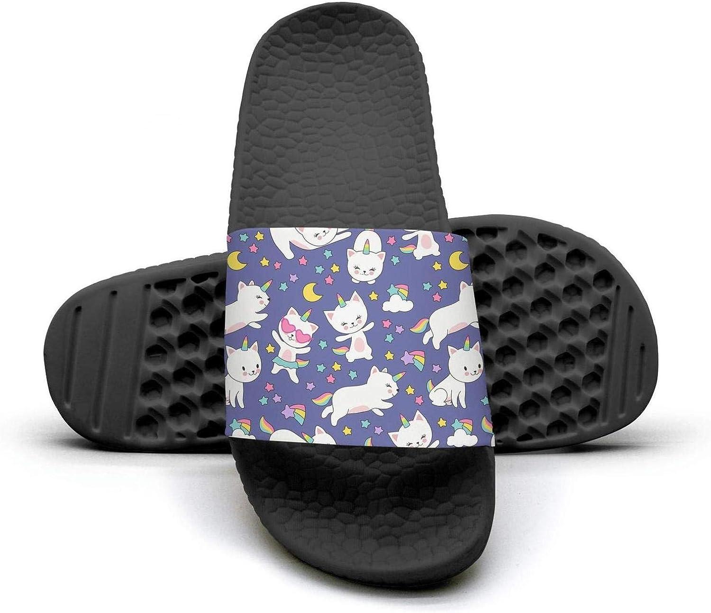 Young Women Cute Cats Unicorn Moon Slip on Beach Sandals and Anti-Slip Shower Slipper Comfort Sandals