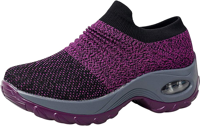 Sekesin Women's Walking shoes Sock Sneakers Mesh Slip On Air Cushion Platform Loafers shoes