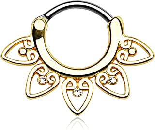 Tribal Fan with Clear Cz 14g or 16g Septum Clicker - Choose Gold Plate, Rose, or Silver Tone