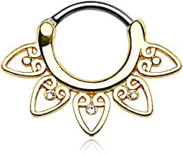 Pierced Owl Tribal Fan with Clear Cz 14g or 16g Septum Clicker - Choose Gold Plate, Rose, or Silver Tone