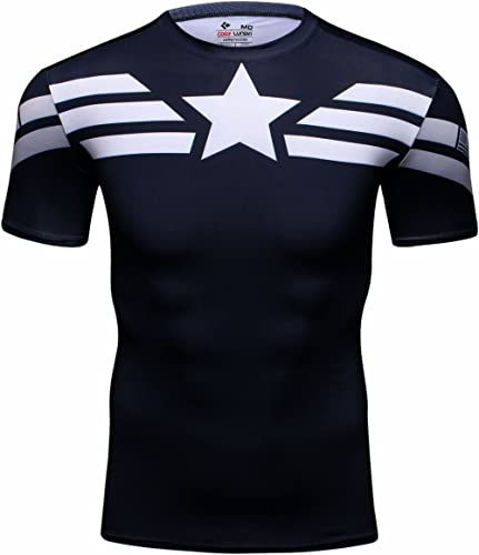 Cody Lundin Homme T-shirts Collants Imprimes Heros Captain, T-Shirt Manches Courtes Fitness Exercice Running Sport et...