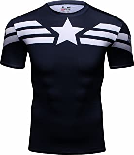 Men's Film Super-Hero Series Compression Sports Shirt Skin Running Short Sleeve Tee (XL, Leader C)