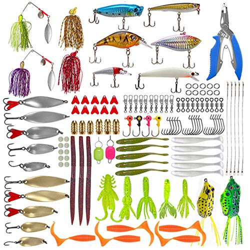 129PCS Freshwater Fishing Lures Baits Kits,Fishing Accessories kit for Trout Bass Salmon Including Tackle Box Fishing Pliers,Crankbait,Spoon Lures,Spinnerbaits,Jigs,Topwater Frog Lures