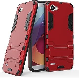 MaiJin Funda para LG Q6 (5,5 Pulgadas) 2 en 1 Híbrida Rugged Armor Case Choque Absorción Protección Dual Layer Bumper Carcasa con Pata de Cabra (Rojo)