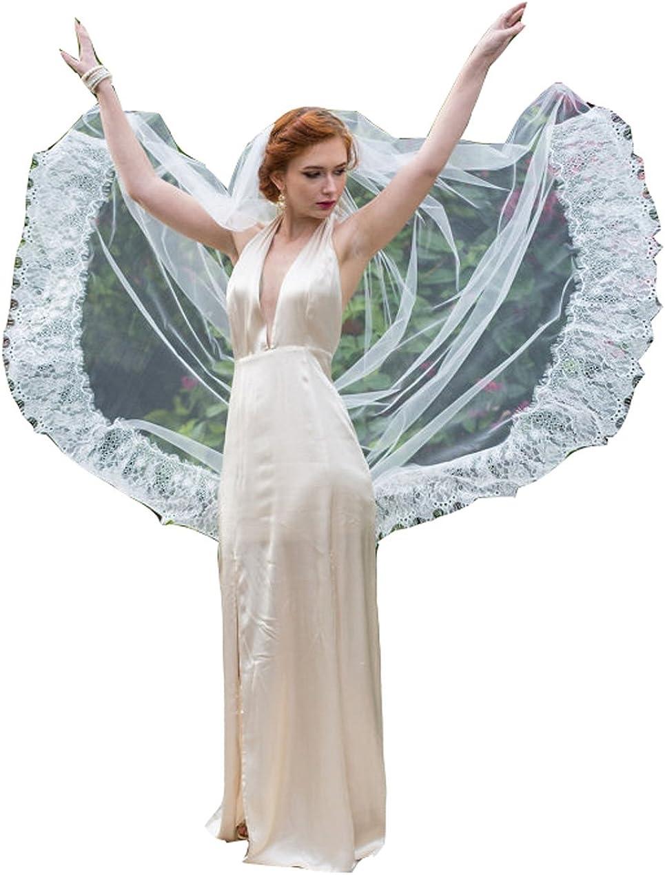 Fenghuavip 1T Wedding Veils Chapel Length Lace Bridal Veils for Women