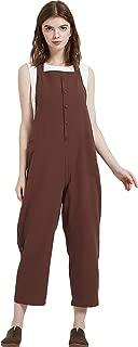 Women's Baggy Loose Cotton Linen Bib Overalls Jumpsuits
