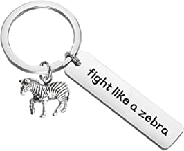 PLITI Cancer Keychain Fight Like A Zebra Keyring Breast Cancer Survivor Keychain Hope Survivor Cancer Awareness Gift Fight Cancer Gifts for Women
