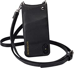 Bandolier Emma Crossbody Phone Case and Wallet - Black Leather with Silver Detail - Compatible with iPhone XR Only