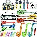 22 instrumentos inflables de colores para guitarra, saxofón, micrófono inflable, altavoz con teclado, obturador de brillo, con bomba de aire, decoración para fiestas, fotos