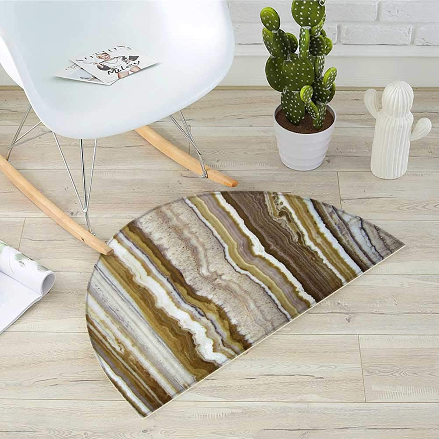 Marble Half Round Door mats Onyx Marble Rock Themed greenical Lines and bluerry Stripes in Earth color Print Bathroom Mat H 35.4  xD 53.1  Mustard Brown