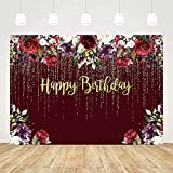 ABLIN 7x5ft Gold Happy Birthday Burgundy Backdrop Woman Girl Burgundy Red Purple Flowers Photo Background Dripping Beads Floral Party Decorations Cake Table Banner Supplies
