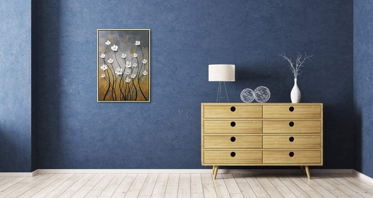Wieco Art Framed Art Morning Dancing Floral Oil Paintings Canvas Wall Art Modern Grace Abstract Flowers Artwork for Living Room Bedroom Home Decorations Wall Decor with Golden Frame FL1091-5070-GF