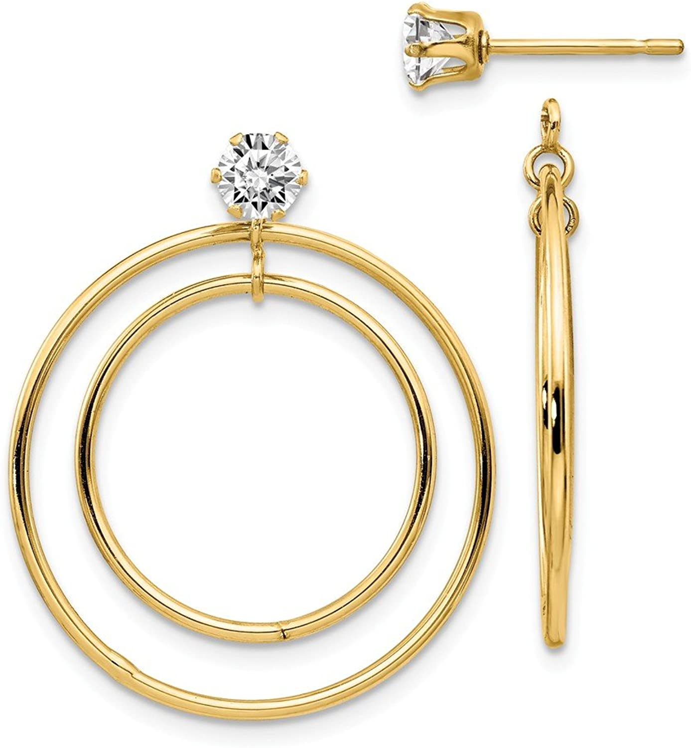 Beautiful Yellow gold 14K Yellowgold 14k Double Hoop with CZ Earring Jackets