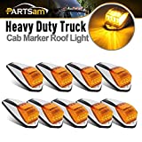 Partsam 9 x 17 LED Amber Cab Marker Light Truck Trailer LED Top Roof Running Sealed Lights W Chrome Base Replacement for Peterbilt Kenworth Freightliner Mack Western Star Trucks