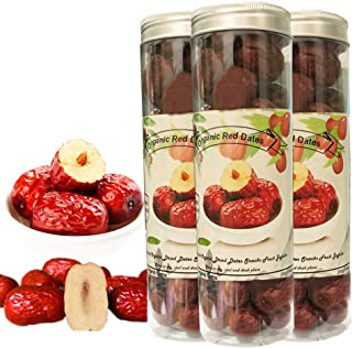 Organic Red Jujube Dates, Chinese Dried Red Date (255g/9.0Oz) Fresh Harvest Dates Jujube Hong Zao Chinese Superfoods Dates Fruit Herbal Tea