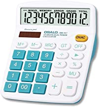 J&K Ink. Multi Color 12 Digit Extra Large Display Basic Calculator, Dual Power Standard Calculator, Desktop Calculator, Basic Office Solar and Battery Operated Desk Calculator OS-837VC (Blue)