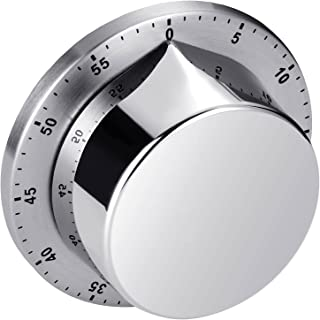 Kitchen Timer, Cooking Timer Clock with Alarm Magnetic Backing Stand, Stainless Steel Body Mechanical Countdown Timer Kitc...