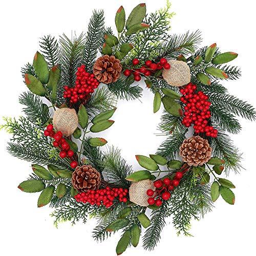 KiGoing 45CM Weihnachtskranz - Weihnacht Girlande Anhänger Künstlicher Kranz Türkranz Girlande Dekokranz mit roten Beeren und Tannenzapfen für Weihnachten Haustür Fenster Kamin Dekoration