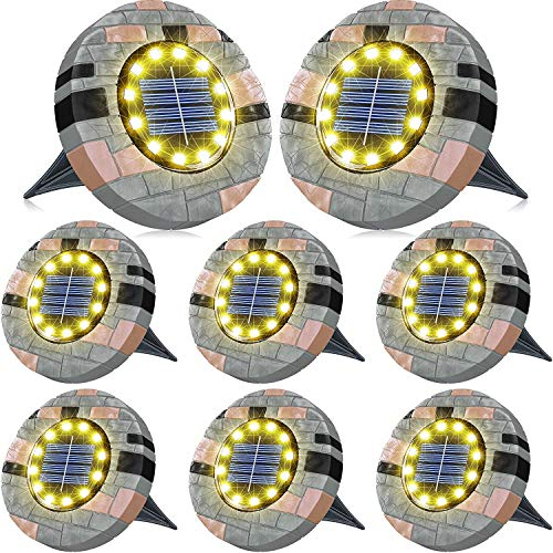 Biling 12 LEDs Luce Solare da Giardino, Luci da Giardino Solari Luminose per Esterni, Luci a Disco Solari Impermeabili per Prato, Giardino e Passerella-Bianco Caldo (8 Pack)