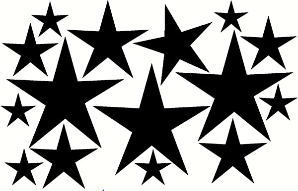 Wall Decor Plus More WDPM200 Variety Star Wall Vinyl Sticker Decal 16 Pc 2In To 8In Peel N Stick By Black