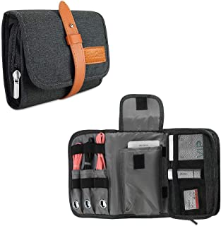 ProCase Travel Gadgets Organizer Bag, Universal Electronic Accessories Cable Roll-Up Pouch Portable Gear Storage Carrying Cover for Cords SD Memory Cards Earphone Hard Drive –Black