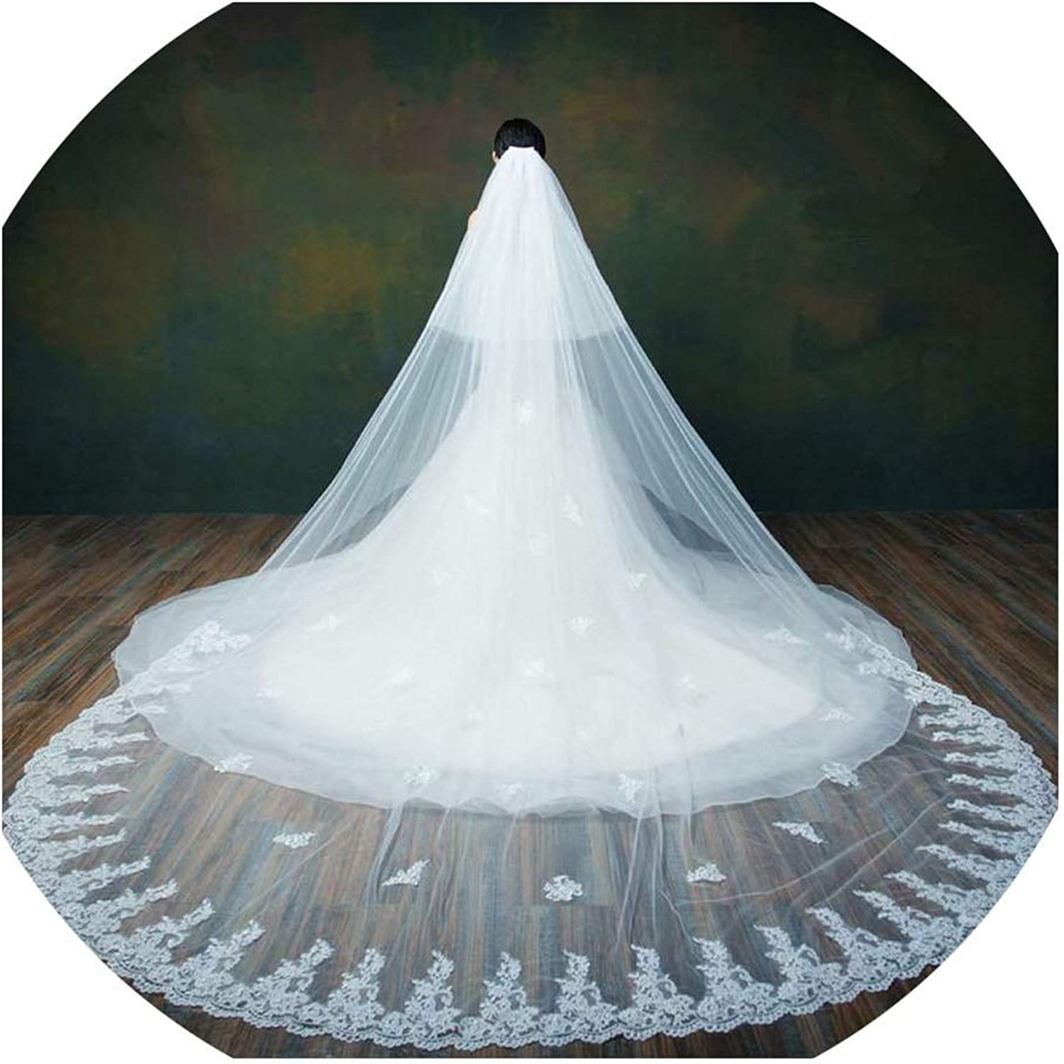 Cathedral Wedding Veils Lace Edge Appliqued TwoLayer Bridal Veils Ber Face Bridal Veil With Free Combs,Ivory,300cm