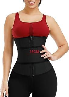 Lover-Beauty Women Waist Trainer Corset Steel Boned Latex Waist Cincher with Belt for Weight Loss