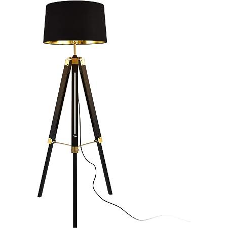 lux.pro Lampadaire Design Lampe à Pied Trépied avec Pieds en Bois et Métal Abat-Jour en Tissu E27 Hauteur 145 cm (Noir)