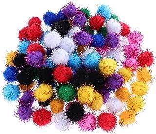 Colar com mini pompons de glitter Amosfun 200 peças artesanato para artesanato em artesanato de artesanato de arte faça vo...