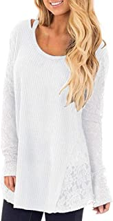 T-Shirts for Women,Women's Fashion O-Neck Solid Color Long-Sleeved T-Shirt Casual Blouse Tops