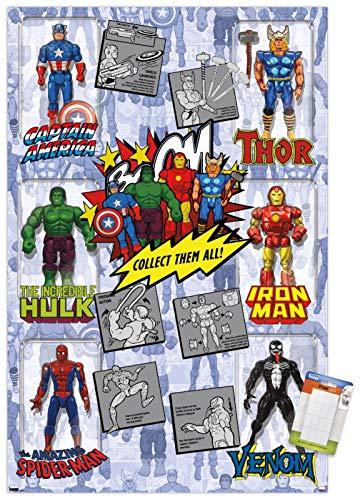 Trends International Marvel Comics - Action Figures Wall Poster, 14.725' x 22.375', Premium Poster & Mount Bundle