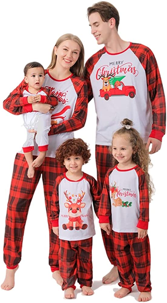 Matching Family Pajamas Sets Christmas PJ's Long Sleeve Tops and Plaid Pants Xmas Jammies Holiday Sleepwear Outfits