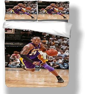 Juego de Funda nórdica Kobe Los Angeles Basketball Player 24 Ropa de Cama Black Mamba Bryant Lakers Super Star Zone Defense Colcha pequeña Delantera con 2 Fundas de Almohada Purple Gold Dynasty