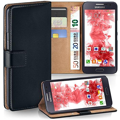 MoEx® Booklet mit Flip Funktion [360 Grad Voll-Schutz] für Samsung Galaxy A5 (2015)   Geldfach und Kartenfach + Stand-Funktion und Magnet-Verschluss, Schwarz