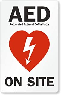 """SmartSign """"AED Automated External Defibrillator On Site"""" Glass Door Decal   8""""x5"""" Polyester"""