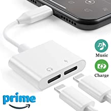 Headphone Adapter for iPhone X Adapter 2 in 1 Earphone Jack Aux Audio Dongle Splitter Cable for iPhone XR/Xs/7/7 Plus/8/8 Plus Accessory Headset Audio & Charger & Call & Sync Support All iOS Systems