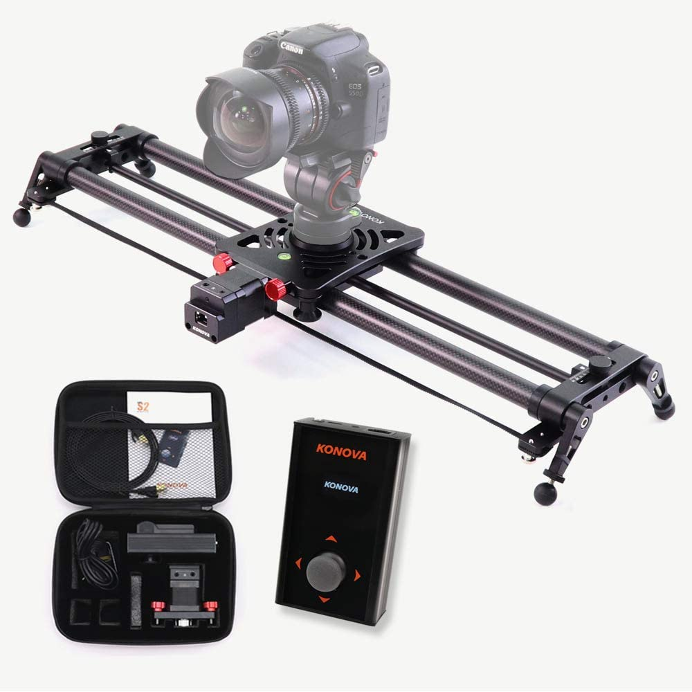 KONOVA Motorizado Slider P1 Series Carbono Slider Dolly with S2 for Parallax Panorama Shot Live Motion and Timelapse Supports Camera, Mobile Phone, DSLR, Mirrorless with Bag (80cm)