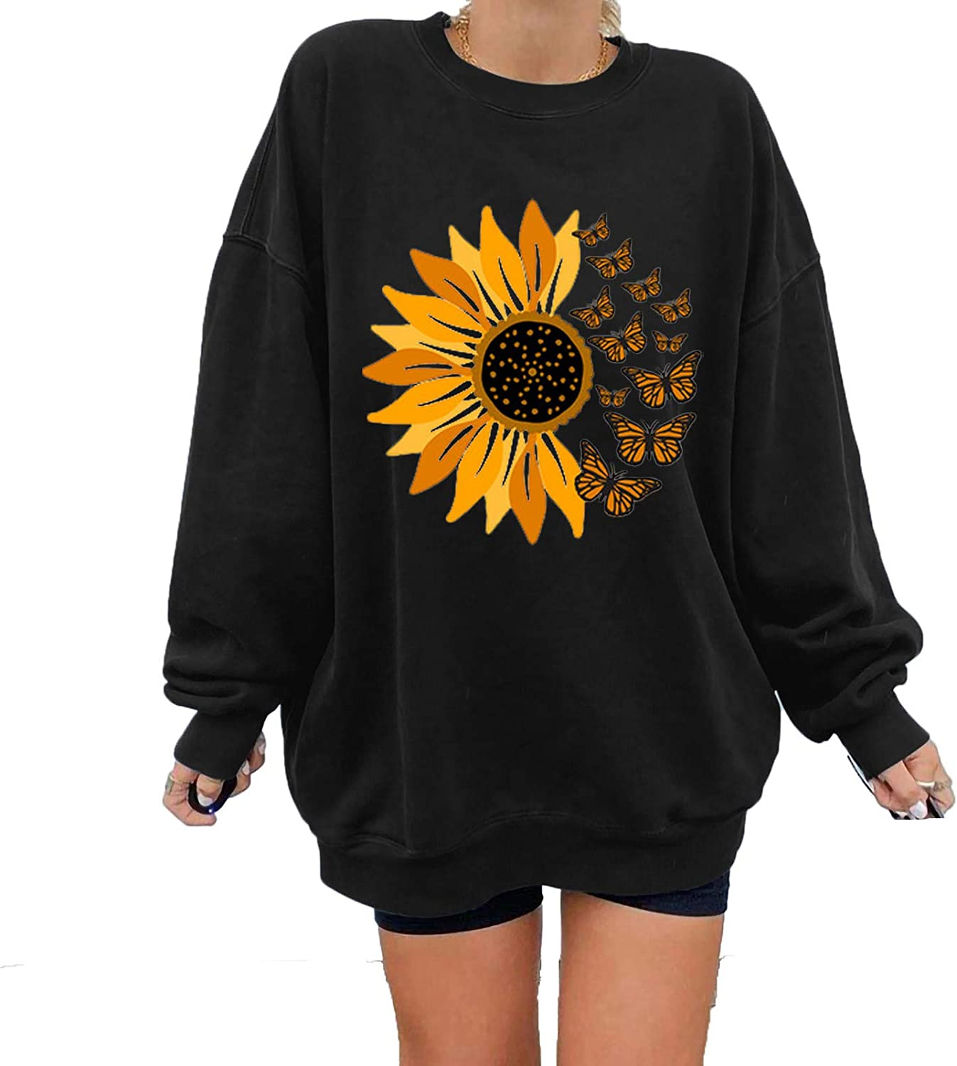 Forwelly Tunic Sweatshirt for Women Crewneck Casual Loose Long Sleeve T Shirt Cute Sunflower Print Pullover Top