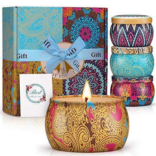 Winzwon Duftkerze Aroma Kerzen Duftkerzen Geschenkset 100% Natürliches Sojawachs Kerze mit Frühling Zitrone Lavendel Feigen Düfte Geschenk Set für Bad Geburtstag Yoga Jahrestag Aromatherapie Kerzen
