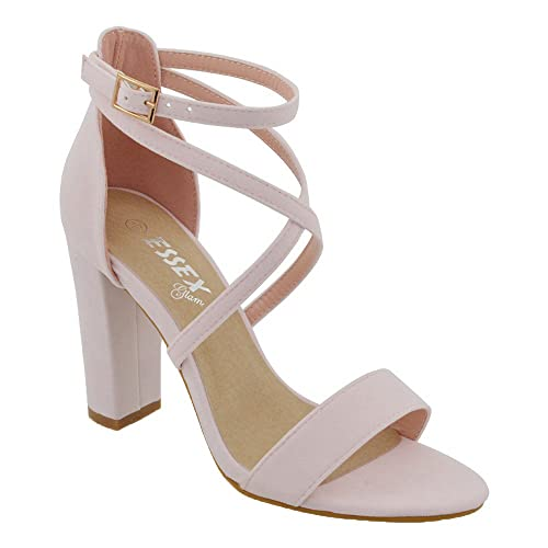 257546b878 ESSEX GLAM Womens Ankle Strap Block Heel Sandals Ladies Strappy Buckle Prom  Party Shoes Size 3