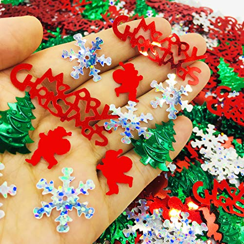FunPartyArt Christmas Confeti Holly Jolly SprinklesTable Decorations for Xmas Holiday Party or DIY(1.5 OZ Red Green White)