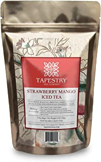 Tapestry Tea Company Strawberry Mango Iced Tea Black Tea Green Tea Fruit Blend - Family Size Iced Tea Bags
