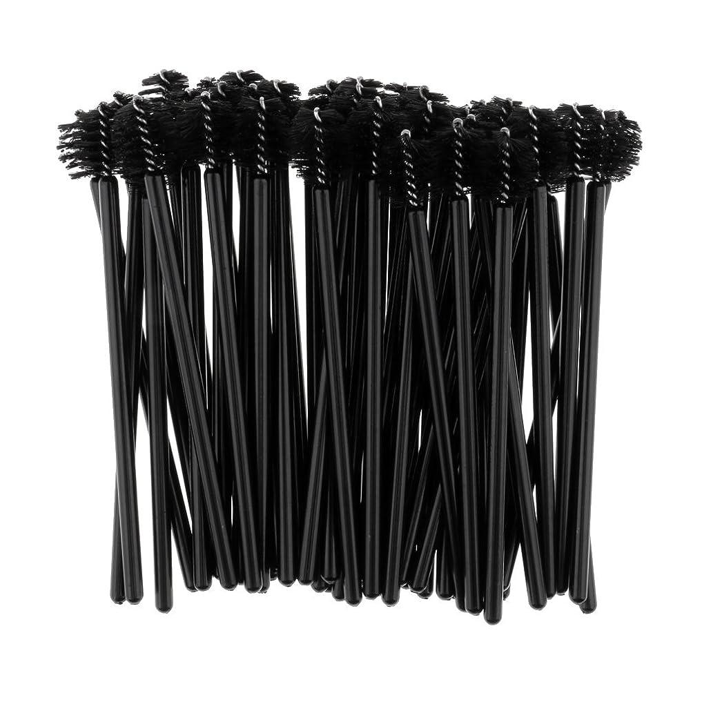 心臓成熟したバッフルPerfk 約100個 使い捨て まつ毛ブラシ マスカラワンド アプリケーターブラック