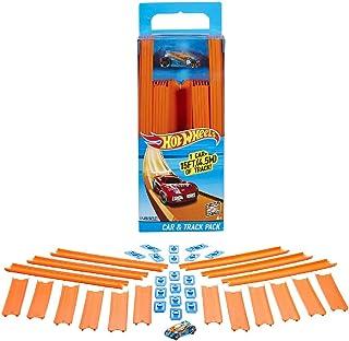 Hot Wheels Track Builder, tramos de pista con vehículo incluido, accesorios para pistas de coches de juguete (Mattel BHT77...