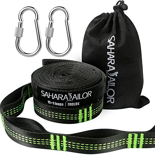 Sahara Sailor Hammock Straps XL (Set of 2), Adjustable Hammock Tree Hanging Straps 1400+ LBS Heavy...