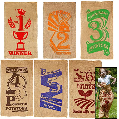 Lulu Home 6 Pack Burlap Bags, 38.4 x 24 Inch Jumping Race Bags for Outdoor Lawn Games, Easter Sack Racing Activities, Burlap Sack Race Bag Spring Outdoor Games for Kids